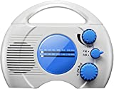 HYBHSCL Wasserdichtes Duschradio, tragbares, wasserdichtes Radio, AM/FM, eingebauter Lautsprecher, Audio, High-Definition, hängende Mini-Batterie, AM/FM für Badezimmer, Küche, Außenbereich