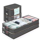 JOYXEON 4X Unterbett Vliesstoff Aufbewahrungstasche Groß faltbar Vliesstoff Unterbettkommode mit wasserdichte Etiketten & verstärkte Griffe & stabile Reißver, für Kleidung Bettdecken Kissen