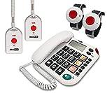 MAXCOM KX481SOS (G-TELWARE®) Haus-Notruf-Seniorentelefon mit Funk-SOS-Sender, schnurgebundenes Festnetztelefon, 2Armband+2Umhängesender, Große Tasten, TAE Stecker, Hörgerätekompatibel…