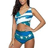ZCZH Damen Bikini Set Badeanzug Rüschen High Waist Bauchweg Bademode Badeanzug Rückenfrei Strandbikinis Bikini Zweiteiliger Badeanzug L