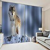 QWEFGDF Verdunkelung svorhänge Für Wohn-undSchlafzimmerVerdunkelungsvorhang,wärmeisolierende Fenstervorhänge 2 x B168 x H229 cm Wolf im Schnee