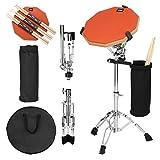 AGPTEK Schlagzeug-Übungspads, 30,5 cm, Orange, doppelseitig, Schlagzeug-Pad-Set mit verstellbarem Snaredrum-Ständer, 3 Paris-Trommel-Sticks, Drumstick-Halter und Tragetasche