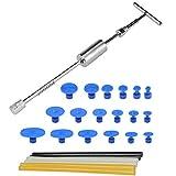 FOCCTS Paintless KFZ Dellen Reparatur-Set - Dent Puller Slide Hammer T-Typ Werkzeug mit 18 Stück Dent Removal Pulling Tabs + 6 Stück Hot Glue Sticks für Auto Körper Hagel Damage Remover