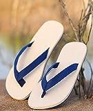 QATX Flip Flops Herren, Damen Herren Zehenstegpantolette Nature Zehentrenner, Hausschuhe Sommer Anti-Rutsch Outdoor Light Casual Beach Männliche Sandalen Haushalts SlipperBlue-44