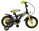 AMIGO BMX Turbo - Kinderfahrrad für Jungen - 12 Zoll - mit Handbremse, Rücktritt, Lenkerpolster und Stützräder - ab 3-4 Jahre - Schwarz
