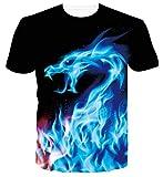 Spreadhoodie T Shirts Sommer 3D Drache Drucken Kurzarm Tops Tees Lustige Grafik Coole Blau Shirt Tops XL