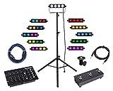 Involight COBBAR 415 LED RGB Lichtanlage mit DMX Foot Controller Set (LED DMX RGB COB Lichtanlage inkl. DMX-Controller, Footswitch, Stativ, Adapter & DMX- & Klinkenkabel)