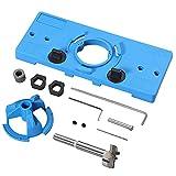 Scharnier Bohrvorrichtungs Set 35 mm Scharnier Bohrlehre Set DIY Werkzeuge, für Holz Türen Fenstern verdeckte Schranktürscharniere - Blau