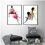 mxjjjlop Mode Poster Nagellack Poster und Drucke Make-up Werkzeuge Leinwand Malerei Bunte Wand Pop Art Für Wohnzimmer Dekor Für Zuhause 50x70cmx2 Kein Rahmen