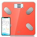 SENSSUN Körperfettwaage Bluetooth Personenwaage Smart Digitale Körperwaage für Körperfett BMI Gewicht Muskelmasse Wasser Protein Skelettmuskel Knochengewicht BMR KG/LBS/ST(Orange)