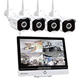 Überwachungskamera Set mit Monitor 8CH 12 Zoll 5MP Funk NVR und 4 x 1080P WLAN IP Kamera Vorinstalliert für Innen Außen