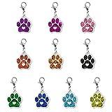 MILISTEN 10 Stück Katze Hund Pfote Emaille Charms Anhänger mit Karabiner Schlüsselkette Glitzer Schmuck Erkenntnisse für DIY Schmuck Herstellung Halskette Armband