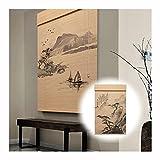 QIANDA Bambusrollo Raffrollo, Drucken Jalousien 85% UV-Schutz Datenschutz Partition Büro Veranda Schlafzimmer, Anpassbar (Color : A, Size : 40x50cm)