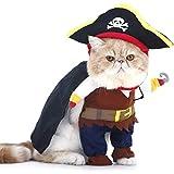 PTN Haustierkostüm für Hunde und Katzen, Aihua eu Katzen Piraten Kostüm mit Hut, Party Verkleiden, Kleidung Kleid für Weihnachtsfeier Dekor