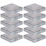 10 x Pfostenkappe für Zaunpfosten aus Verzinktem Stahl in verschiedenen Größen (111x111m)