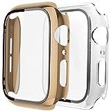 Fengyiyuda Hülle Kompatibel mit Apple Watch 38/42/40/44mm mit Anti-Kratzen TPU Panzerglas Displayschutz Schutzfolie,360°Schutzhülle für iWatch Series 6/5/4/3/2/1/SE,2 Stück,Light Gold/Clear,38mm