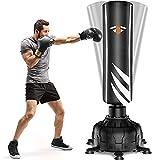 Boxsack Stehend 181cm Freistehender Standboxsack, 2021 Version-Schwerer Boxsack-Ständer, Metall Frühling-Basis mit Versenkbarer Saugnapf 13pcs