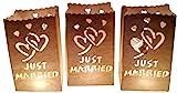 GW Handels UG 10 Stück Papier Lichttüten Hochzeit Lichtertüten Just Married für Teelichter Kerzen Laternen weiß Windlicht Kerzenhalter Kerzentüten Hochzeitsdekoration