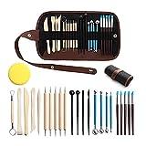 otutun Modellierwerkzeug, 24 Stück Clay Werkzeug DIY Werkzeug-Set Töpferwerkzeug Doppelseitiges Skulpturenwerkzeuge mit Eine Aufbewahrungstasche Ton Schnitzen Werkzeug Ball Stylus Dotting Tools