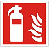 Hochwertiges Feuerlöscher Schild Feuerlöscher-Symbol-Schild F001,Gr.: 50 x 50 mm, mit selbstklebender Folie rot, Symbol nach ISO 7010 DIN EN ISO 7010