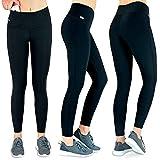 Formbelt® Laufhose Damen mit Tasche lang - Leggins Stretch-Hose Lauf-Tights für Smartphone iPhone Handy Schlüssel Yoga (A-schwarz, XL)
