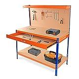 wuuhoo® I Werkzeugkbank Ben mit Schublade und Ablage I Werkbank mit Lochwand für Werkzeug zum Aufhängen I Werkstatteinrichtung mit Haken zur Aufbewahrung