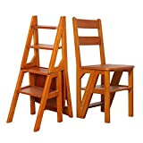 ZHZ-DT Leiterstuhl Treppenstuhl 4 Stufen-Leiter Stuhl Kombination, Folding Holzleiter Hocker Sicherheit Griffige Trittschemel Tread Perfekt for Haus, Büro, Lager, Max.150kg