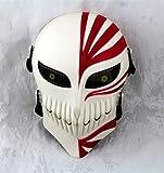 Gmasking Bleach Ichigo Kurosaki Softair Drahtgitter Paintball Maske Nachbildung + gmask Schlüsselanhänger, Weiß/Rot