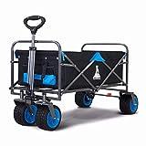 TOPWELL Faltbarer Bollerwagen Breite Räder All Terrain Garden Handwagen Klappwagen mit Fußbremse Einfach zu steuern Strandwagen Maximale Belastung 120kg