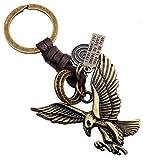 Desi-Schilder Metall-Adler-Glücksbringer-Lederband-Schlüsselanhänger-Keyholder-Schlüssel-Keyrings