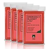 Bearhard Notfalldecke Rettungsdecke aus Polyethylen, 4 Stücke, für Camping, Wandern oder Outdoor-Rettung, große Folie, Überlebens-Thermo-Decken, Rot