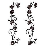 4pcs Wandtattoo Blumenranken Schwarz Blumen Hibiskus Wandtattoo Wanddeko Blumenranke Aufkleber Sticker Wandaufkleber Hintergrund für Schlafzimmer Zuhause Dekoration W