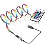 GLEHOME USB-betriebene LED-Lichtstreifen mit Fernbedienung, 1 m, 60 LEDs, Farbwechsel, RGB-Streifen, Raumdekoration, Niederspannung, Stimmungslicht, einfache Einrichtung