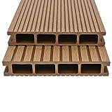 Tidyard WPC Hohlkammer Terrassendielen mit Zubehör einem Anderen Muster auf jeder Seite,Abmessungen (jeweils):400 x 15 x 2,5 cm (L x B x T) Teak