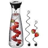 WMF Basic Wasserkaraffe Set 3-teilig, Karaffe 1l mit 2 Fruchtspieße verschiedene Größen, Glaskaraffe mit Deckel, Silikondeckel, CloseUp-Verschluss
