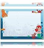 blaash® XXL Meerjungfrau Schreibtischunterlage Papier DIN A2 für Kinder | 25 Blatt Block mit Platz zum Malen, Basteln und Kritzeln | Unterlage Schreibtisch Mädchen/Schreibtischunterlage Kinder | A2