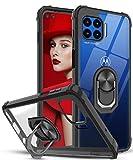 LeYi für Hülle Motorola Moto G 5G Plus,Ringhalter Schutzhülle Crystal Clear Acryl Cover Air Cushion Bumper Handy Hüllen für Case Motorola Moto G 5G Plus Handyhülle Schwarz