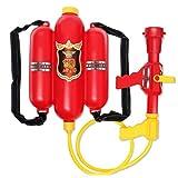 GeKLok Feuerwehrmann Spielzeug Rucksack Wasserpistole/Feuereimer, Feuerlöscher Wasserspielzeug, Kunststoff Durable Beach Sprayer Feuerwehrmann Requisiten Spielzeug für Outdoor-Spiele Jungen Mädchen