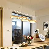 Ring LED Pendelleuchte Dimmbar Holz Hängeleuchte Esstisch Pendellampe Höhenverstellbar Modern Einfach Rund Kronleuchter Mit Fernbedienung Für Schlafzimmer Wohnzimmer Esszimmer Küche Holzlamp