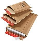 Versandtasche aus Wellpappe Karton mit Selbstklebeverschluss und Aufreissfaden | CP010.02 -Innenmaß 185x270x50mm | braun| 100 Stück