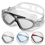 Schwimmbrille Erwachsene Anti Fog Ohne Leakage deutlich Anblick UV Schutz 180°Weitsicht Einfach zu anpassen,Professional Super komfortabeler Schwimmbrille für Herren und Damen(Black/Clear Lens)