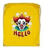Druckerlebnis24 Turnbeutel - Clown Halloween Zombie Knochen - Stoffbeutel aus Bio Baumwolle