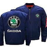 Herrenjacke - Skoda Print Casual Lightweight Sportswear Jacket Langhülse Fluganzug Mit Reißverschlusstaschen Blue-4X-Large