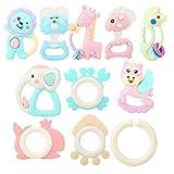 Atyhao 8Pcs Baby Beißring Spielzeug, Tragbarer Beißring Weiches Silikon Kinderkrankheiten Spielzeug mit Rassel Musik Glocke für Kinder Babys Jungen Mädchen