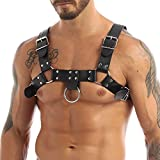 TiaoBug Herren Wetlook Leder Body PU PVC Brust Harness Punk Gothic Party Kostüme Zubehör sexy Sklave Cosplay Bandage Clubwear Schwarz One_Size