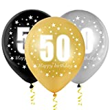 Bluelves Luftballoon 50 Geburtstag, 50 Geburtstag Deko Mann Frau, Zahlenballon 50, Gold Schwarz Silber Ballon 50, 30 Stück