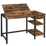 HOOBRO Computertisch, Zeichentisch, Schreibtisch kippbare Tischfläche, Bürotisch mit Schublade und Regalen, rutschfesten Streifen, stabil und robust, leicht montierbar, Vintage EBF75DN01