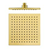 Shower Set 8 Zoll Regendusche Wassersparend Druckerhöhung Kopfbrause ABS Quadratisch Regendusche Duschkopf,Titanium Gold