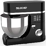 DELECHEF Küchenmaschine Knetmaschine - 7L Teigmaschine 1200W 6 Geschwindigkeit Neading Rührmaschine - mit Knethaken & Rührbesen & Schlagbesen & Spritzschutz & Edelstahlschü