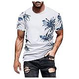 Xmiral Herren Druck T-Shirt Kurzarm O-Ausschnitt Basic Shirt Nostalgischer Stil Sommer Regular Tops (c Weiß,3XL)